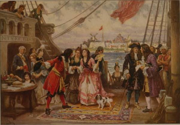 The Pirate Captain Kidd with several fashionable ladies and a Cavalier King Charles Spaniel