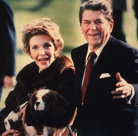 Ronald and Nancy Reagan with Rex, their Cavalier King Charles Spaniel