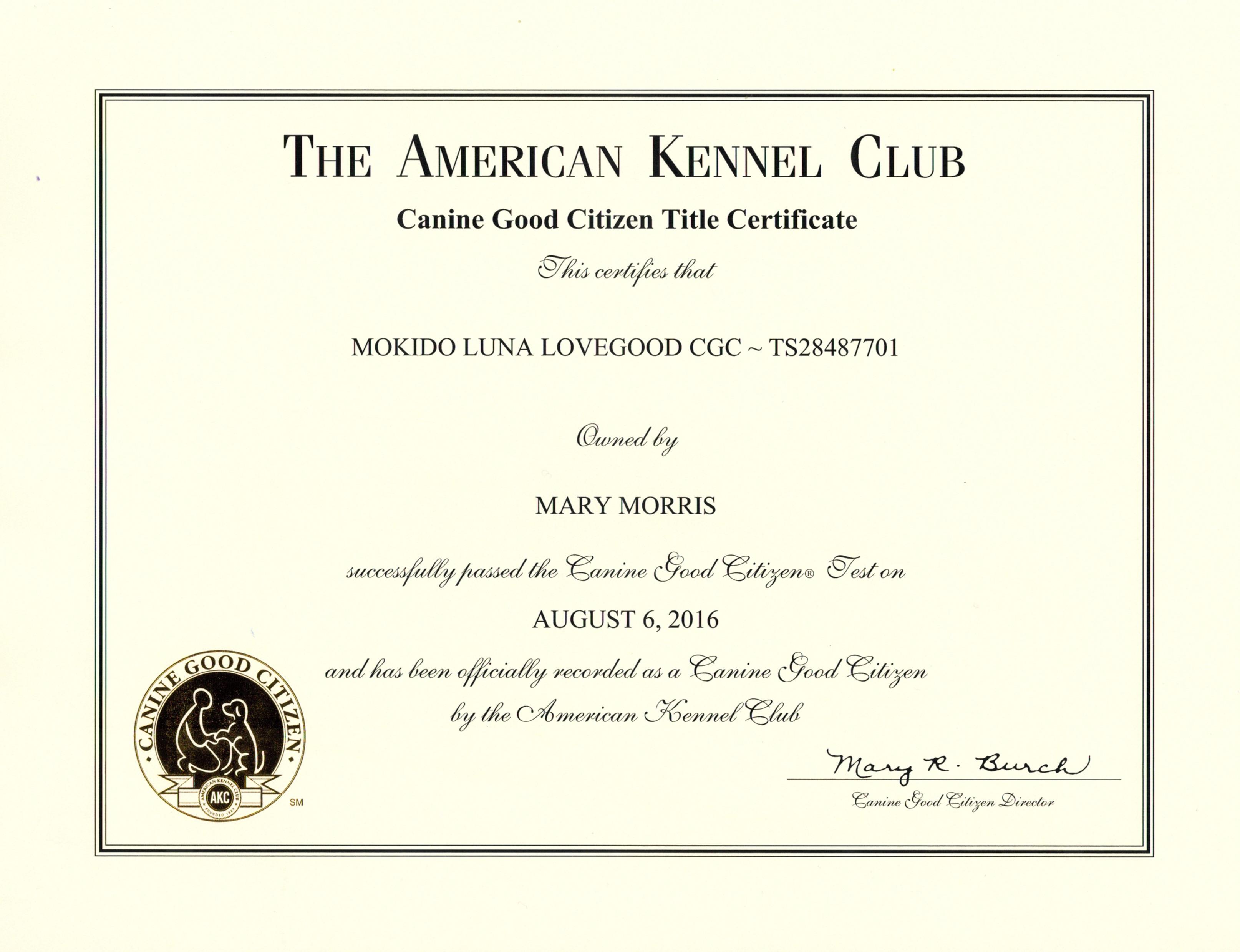 Luna CGC Certificate